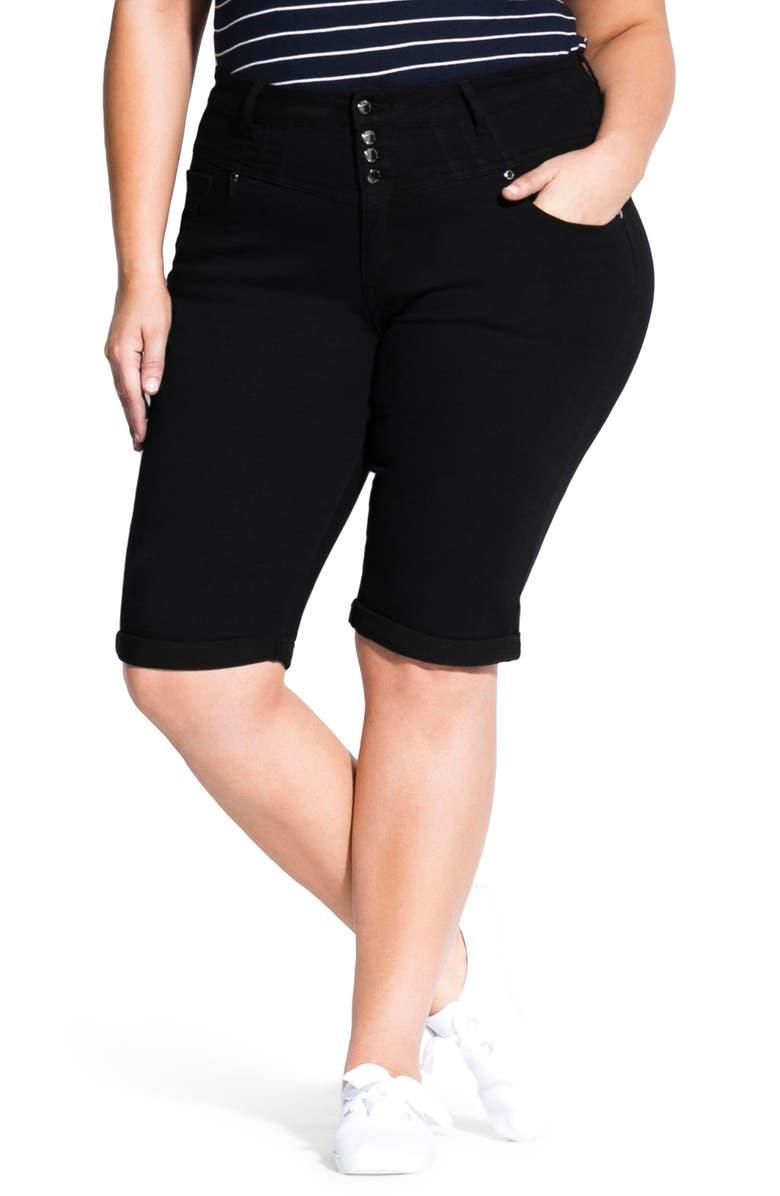 CITY CHIC Bermuda Shorts, Main, color, 001