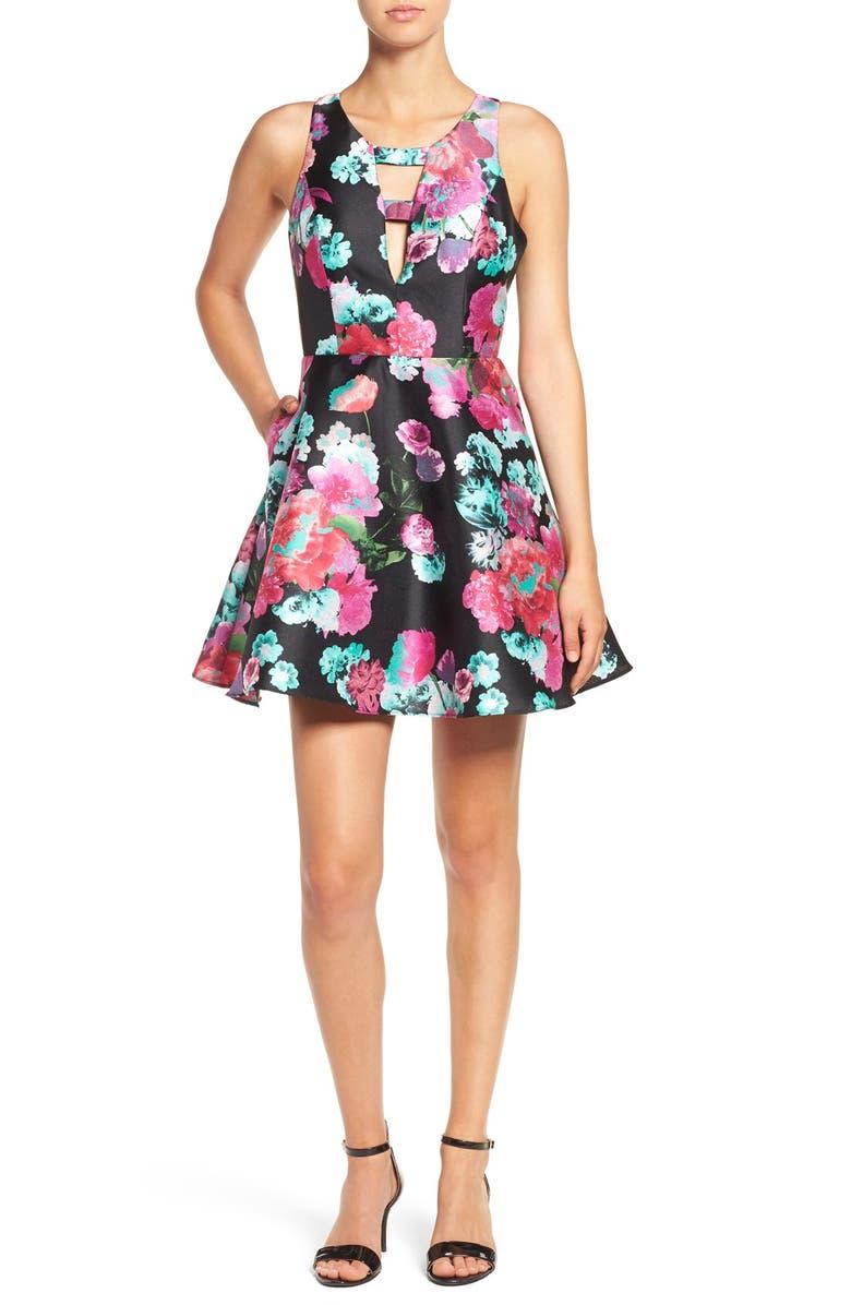 f233edea57b85 Dear Moon Floral Print Fit & Flare Dress | Nordstrom