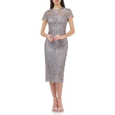 Js Collections Illusion Lace Midi Cocktail Dress, Beige