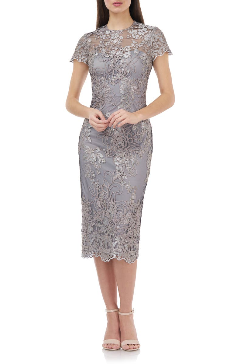 JS COLLECTIONS Illusion Lace Midi Cocktail Dress, Main, color, TAUPE