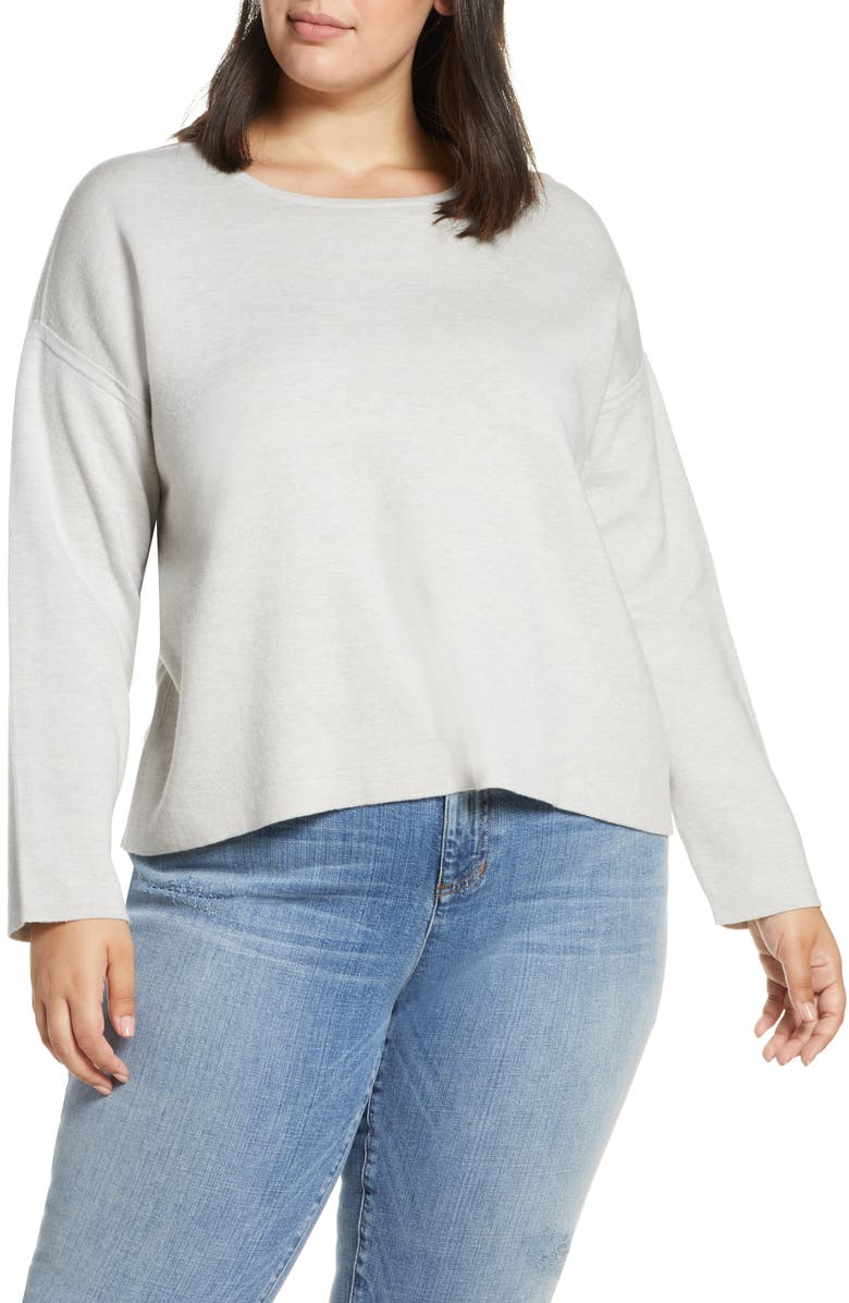 EILEEN FISHER Crewneck Sweater, Main, color, PEARL
