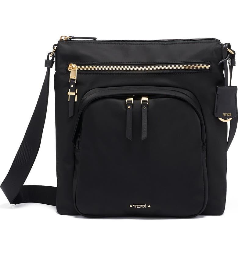 TUMI Voyageur Carmel Nylon Crossbody Bag, Main, color, BLACK