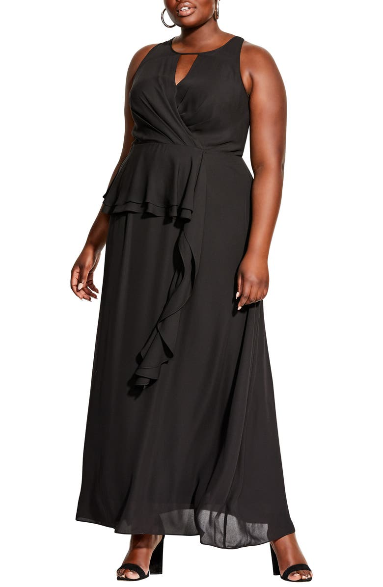 CITY CHIC Cascade Ruffle Maxi Dress, Main, color, BLACK