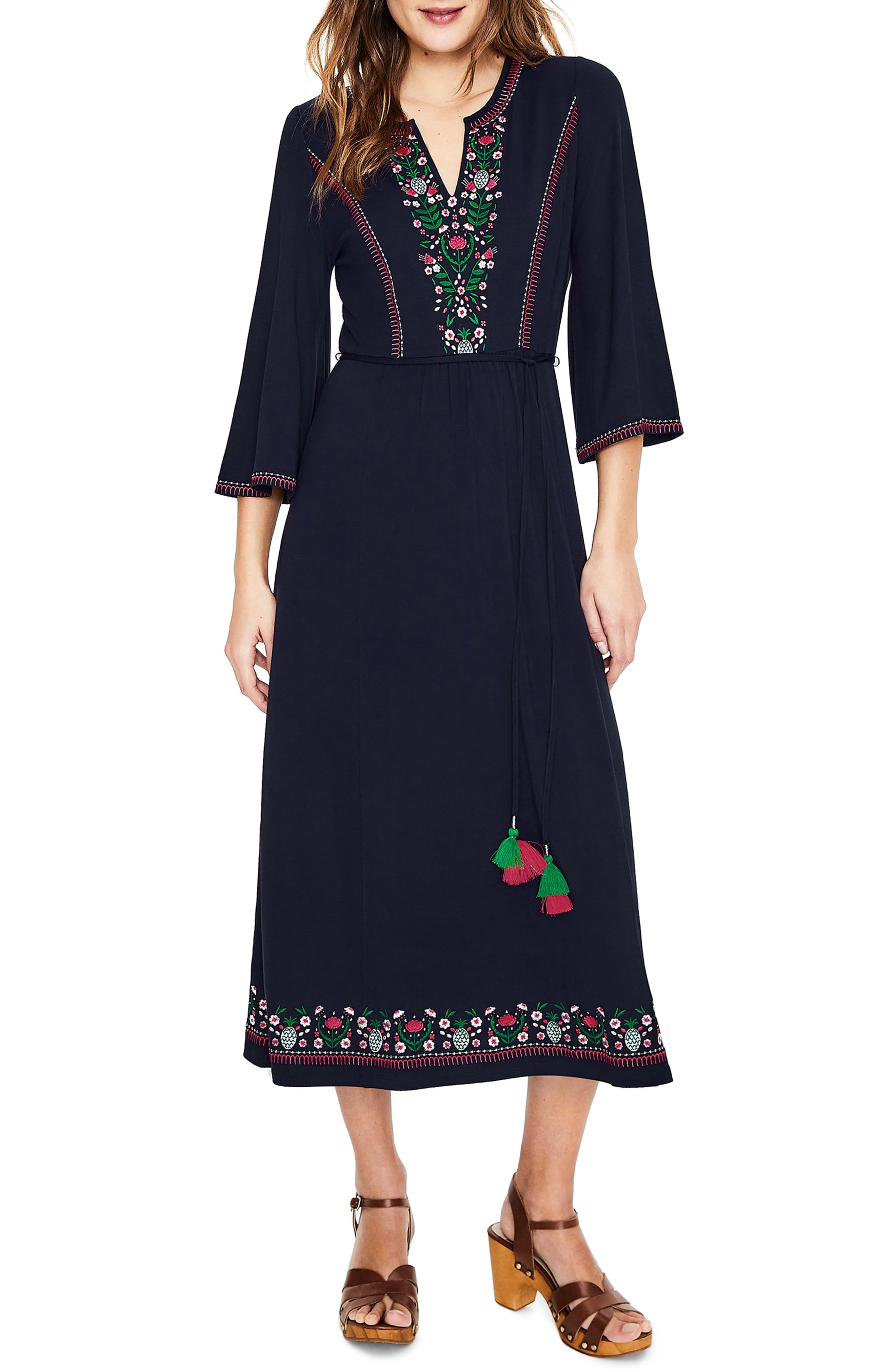 Petite Boden Remi Embroidered Midi Dress, Blue