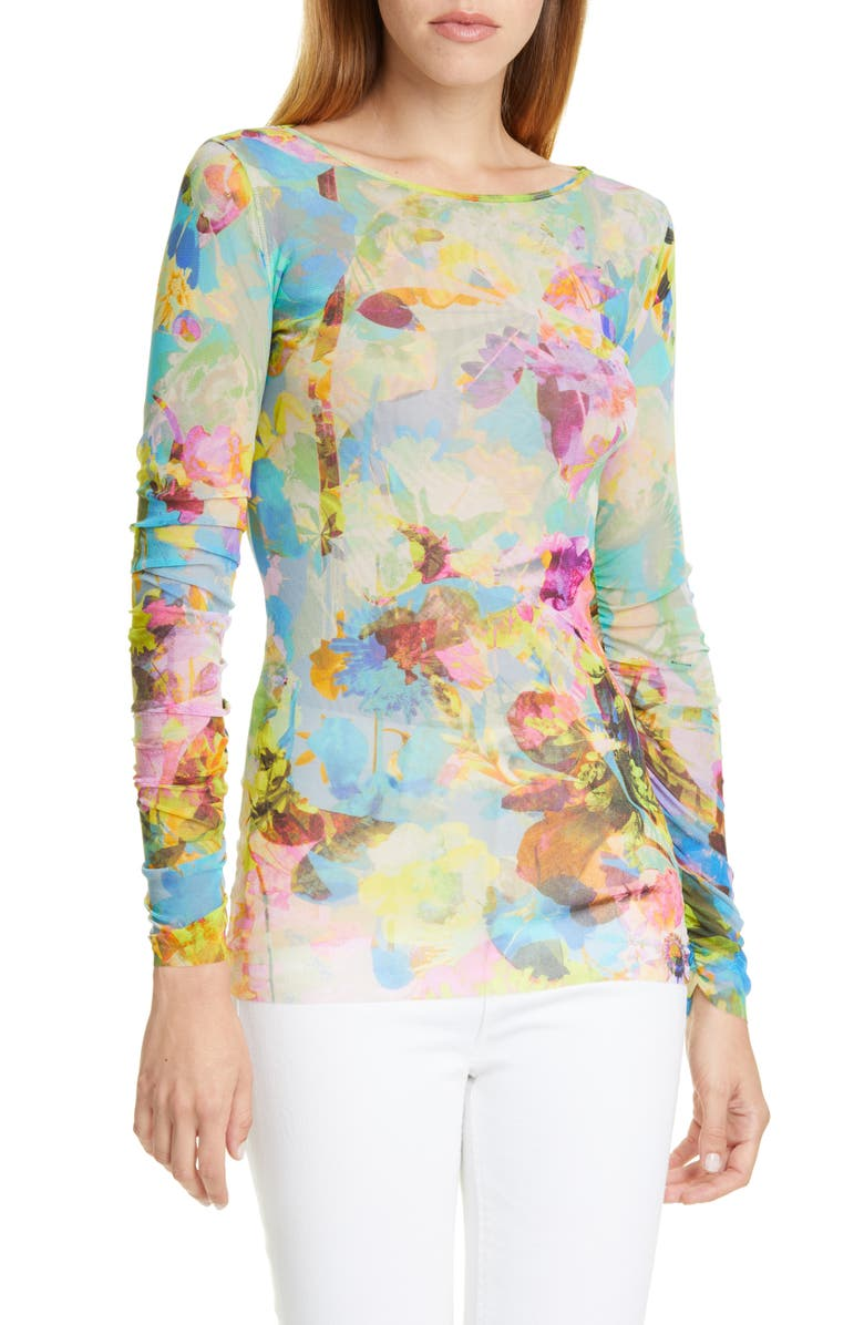 FUZZI Floral Long Sleeve Top, Main, color, LIMPIDO