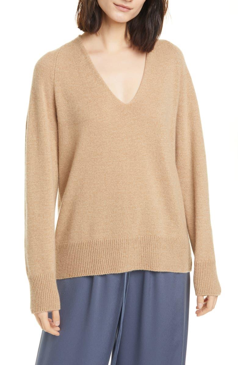 VINCE Wool & Cashmere V-Neck Sweater, Main, color, DUNE