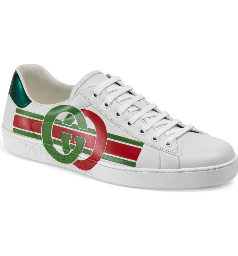 GUCCI New Ace Logo Sneaker, Main, color, BEI/ EB-GESSO
