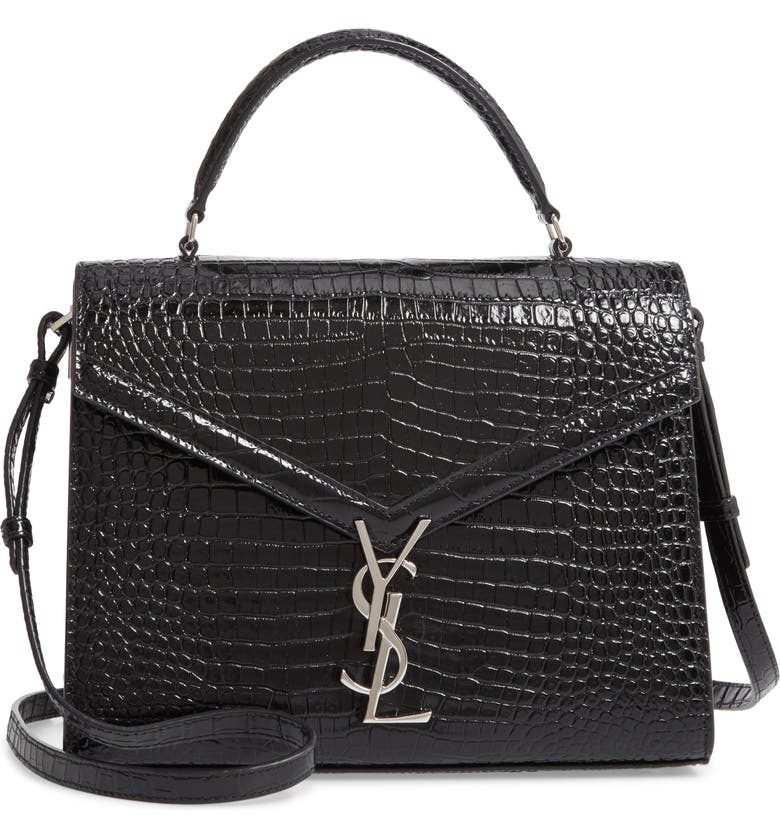 SAINT LAURENT Medium Cassandra Croc Embossed Calfskin Satchel, Main, color, NERO/ ROUGE LEGION
