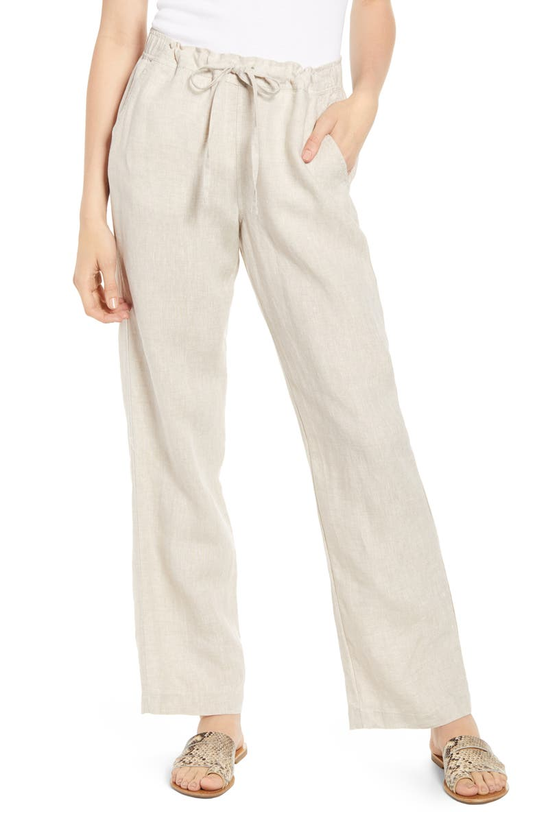 Wide Leg Linen Pants, Main, color, NATURAL