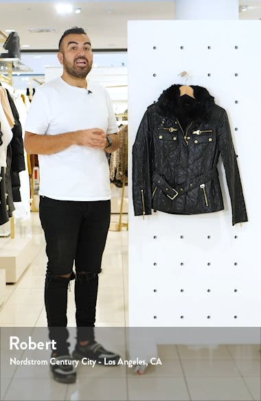 Icons International Faux Fur Collar Belted Moto Jacket, sales video thumbnail