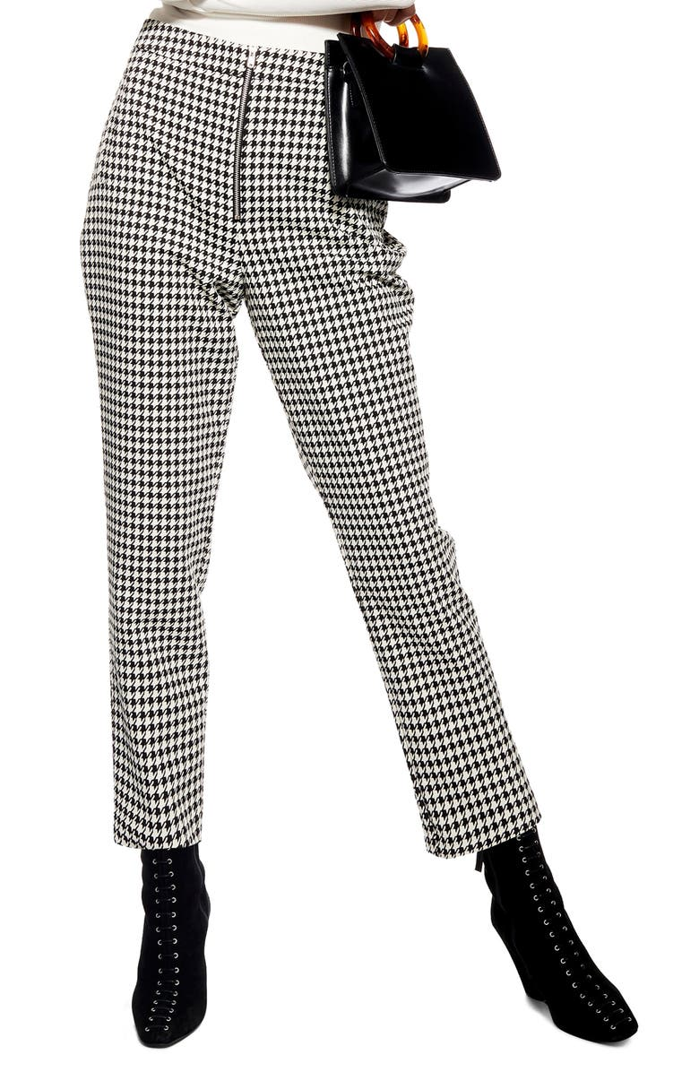 TOPSHOP Houndstooth Trousers, Main, color, 002