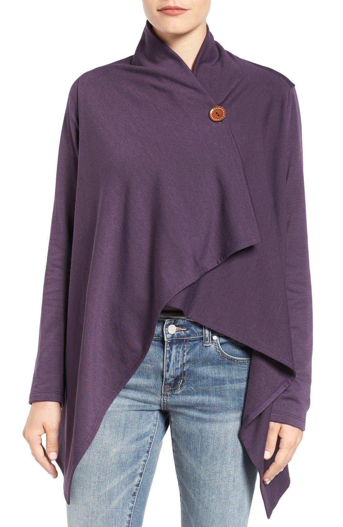 ,                             One-Button Fleece Wrap Cardigan,                             Main thumbnail 179, color,                             597