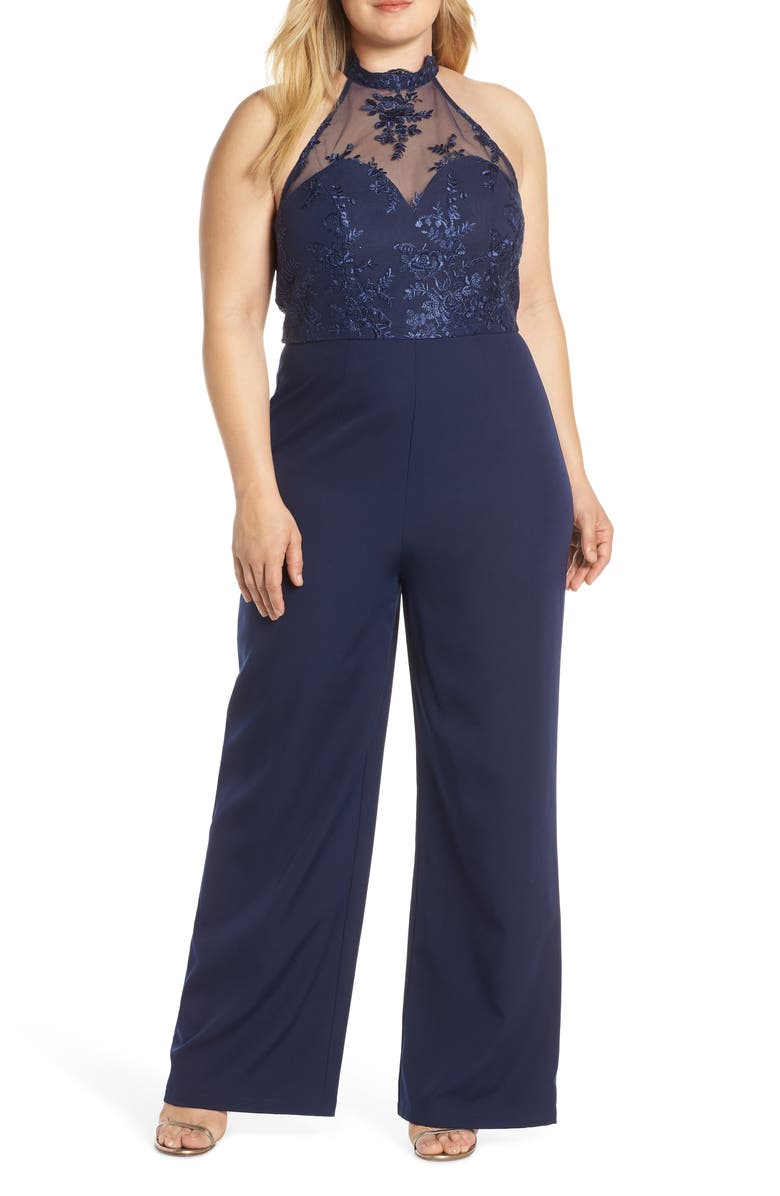 CHI CHI LONDON Jennifer Mesh Bodice Jumpsuit, Main, color, 410