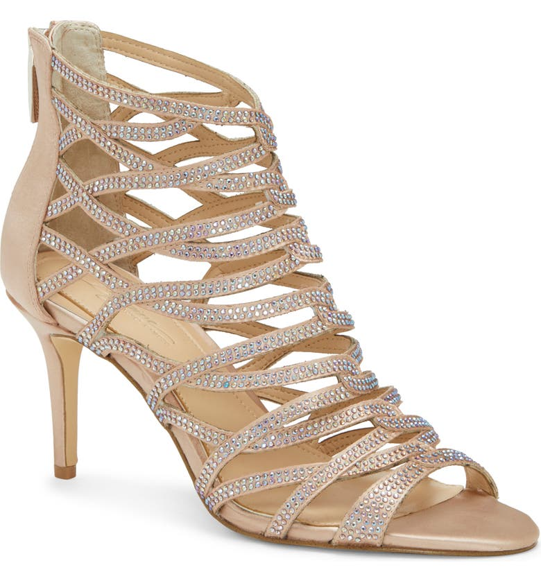 IMAGINE BY VINCE CAMUTO Imagine Vince Camuto Paven Crystal Cage Sandal, Main, color, BISQUE SATIN