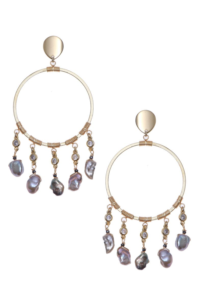 NAKAMOL CHICAGO Freshwater Pearl Charm Drop Earrings, Main, color, 020