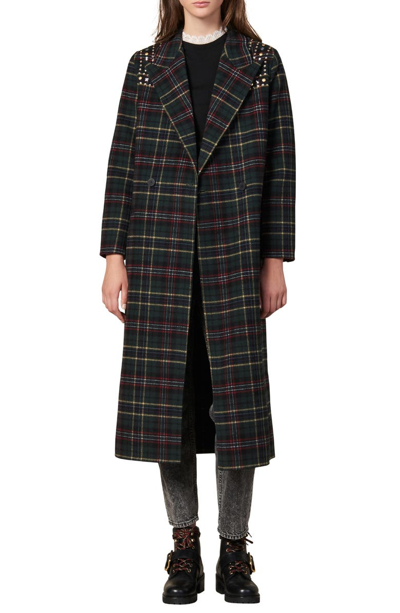 SANDRO Tiles Stud Detail Plaid Wool Blend Coat, Main, color, 312