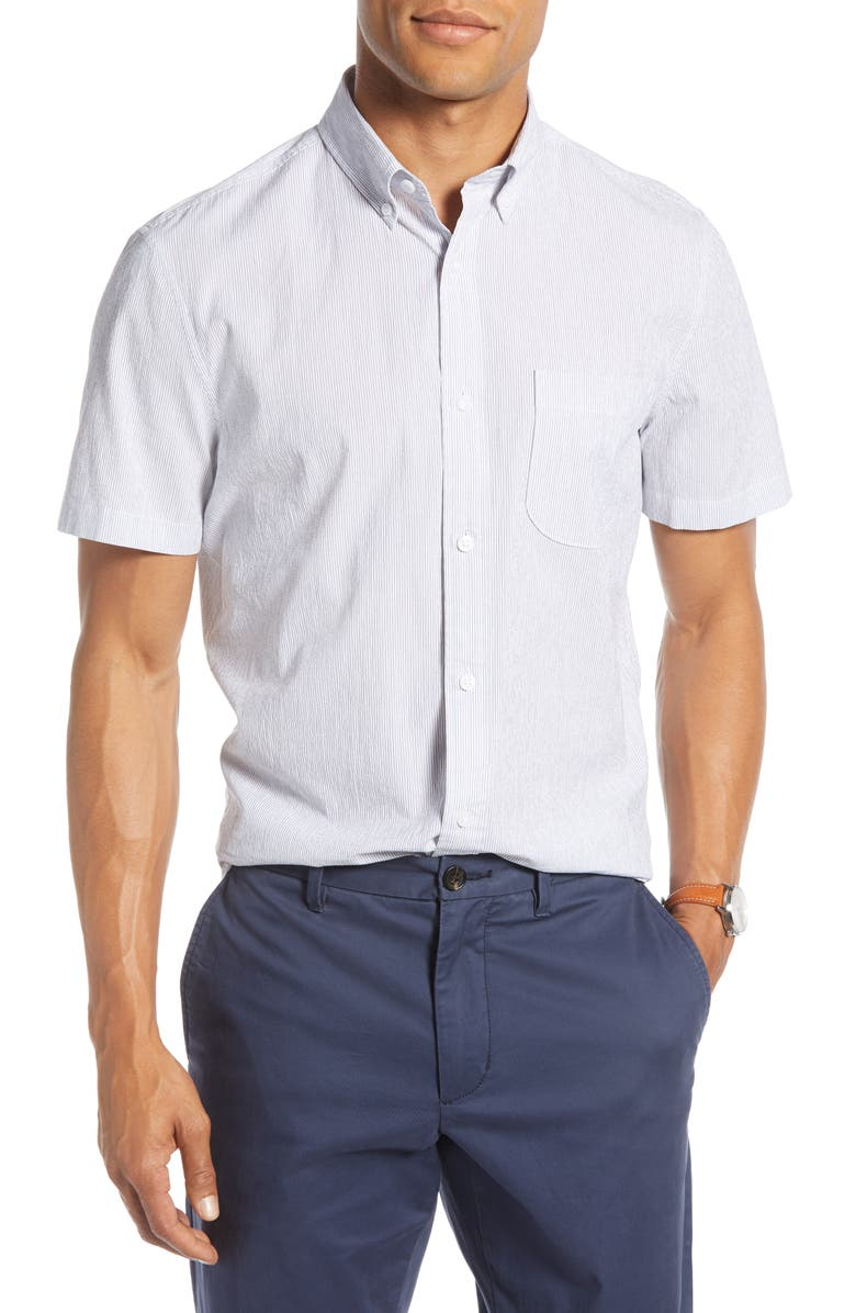 1901 Pinstripe Seersucker Slim Fit Sport Shirt, Main, color, NAVY FINE STRIPE SEERSUCKER