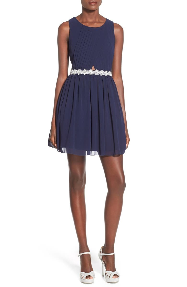 WAY-IN Embellished Pleated Skater Dress, Main, color, 410