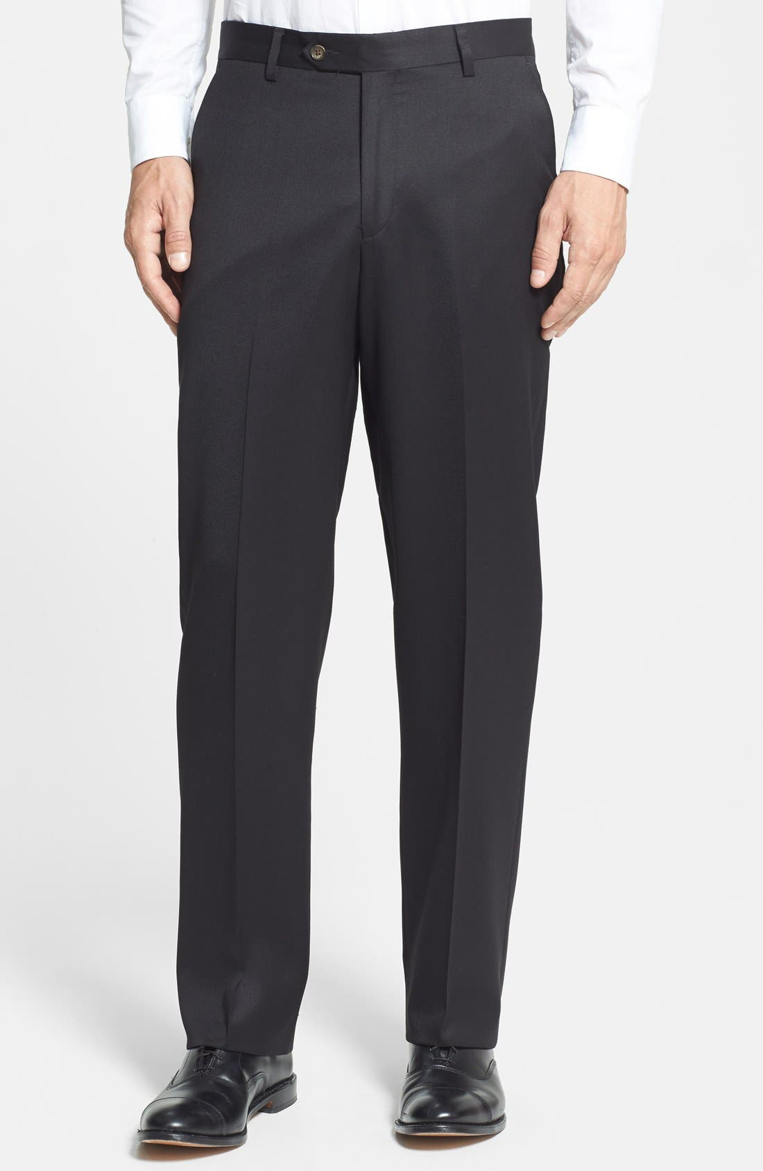 A clean flat-front cut defines sharp trousers fashioned from finely textured super 100s wool gabardine. Style Name: Berle Flat Front Classic Fit Wool Gabardine Dress Pants. Style Number: 463773. Available in stores.