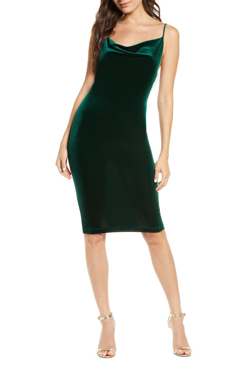 LULUS Jazzy Belle Cowl Neck Velvet Cocktail Dress, Main, color, DARK GREEN
