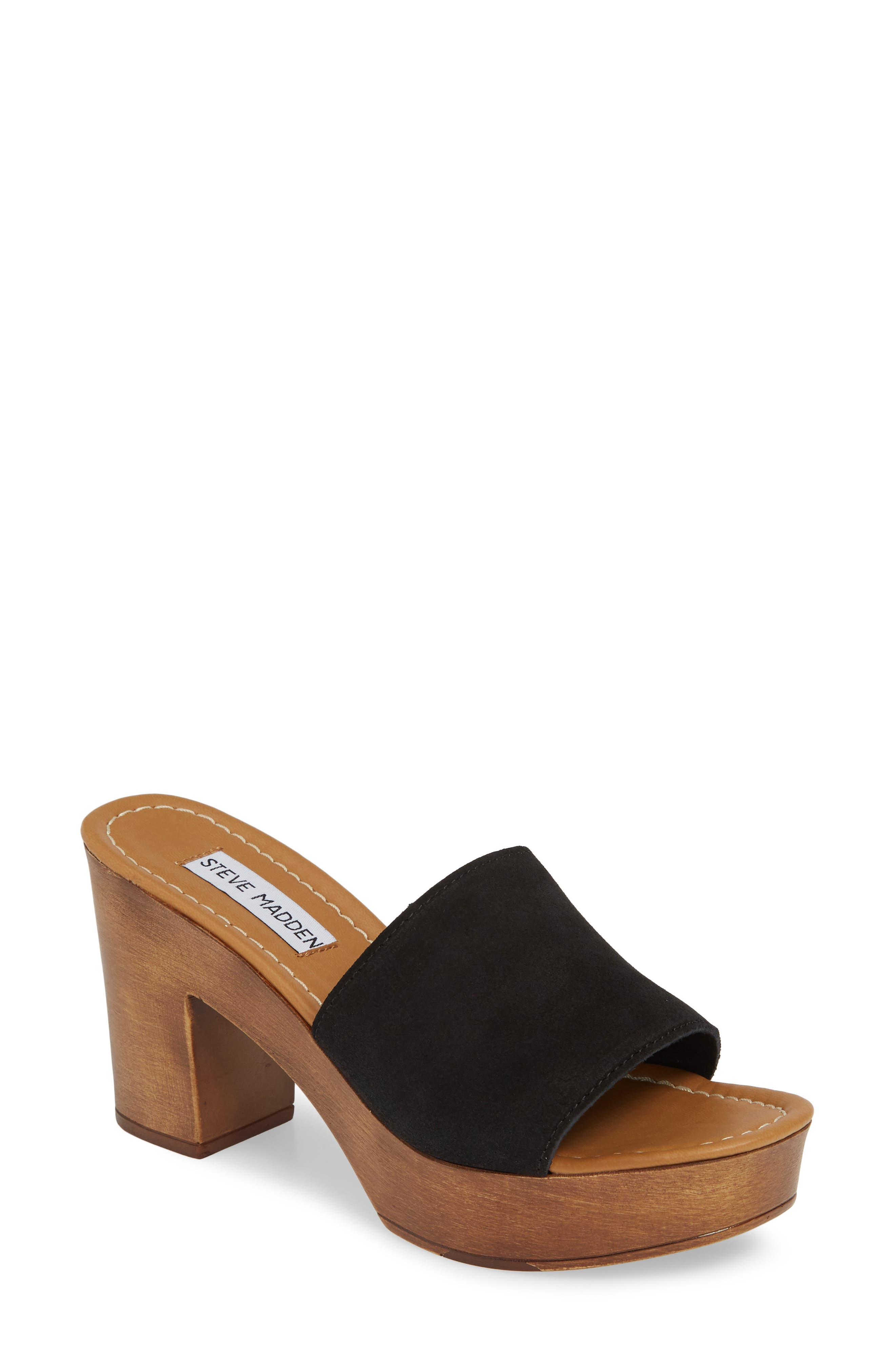 Fran Platform Slide Sandal, Main, color, BLACK SUEDE