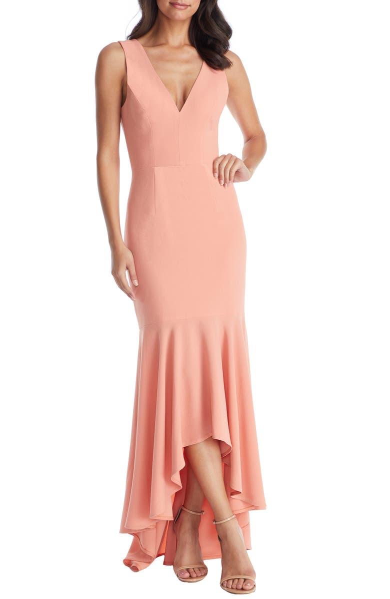 DRESS THE POPULATION Demi High/Low Mermaid Hem Evening Dress, Main, color, GUAVA