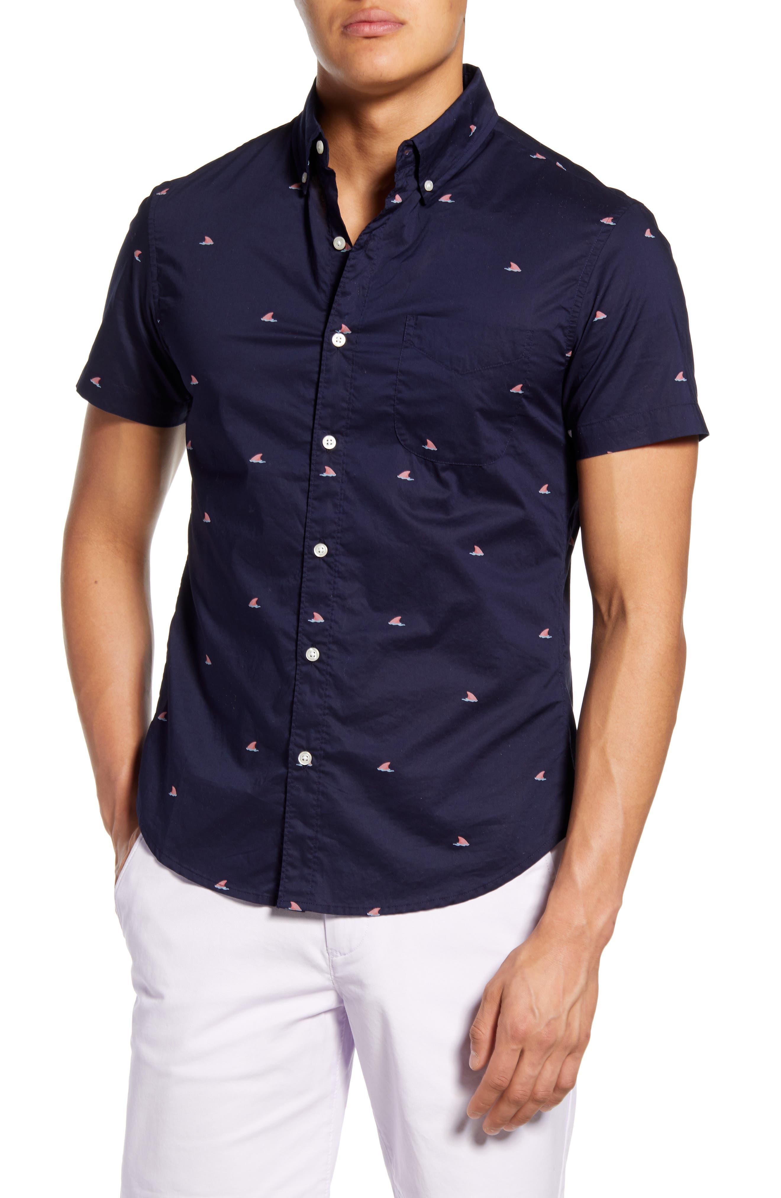 Riviera Slim Fit Shark Fin Short Sleeve Button-Down Shirt