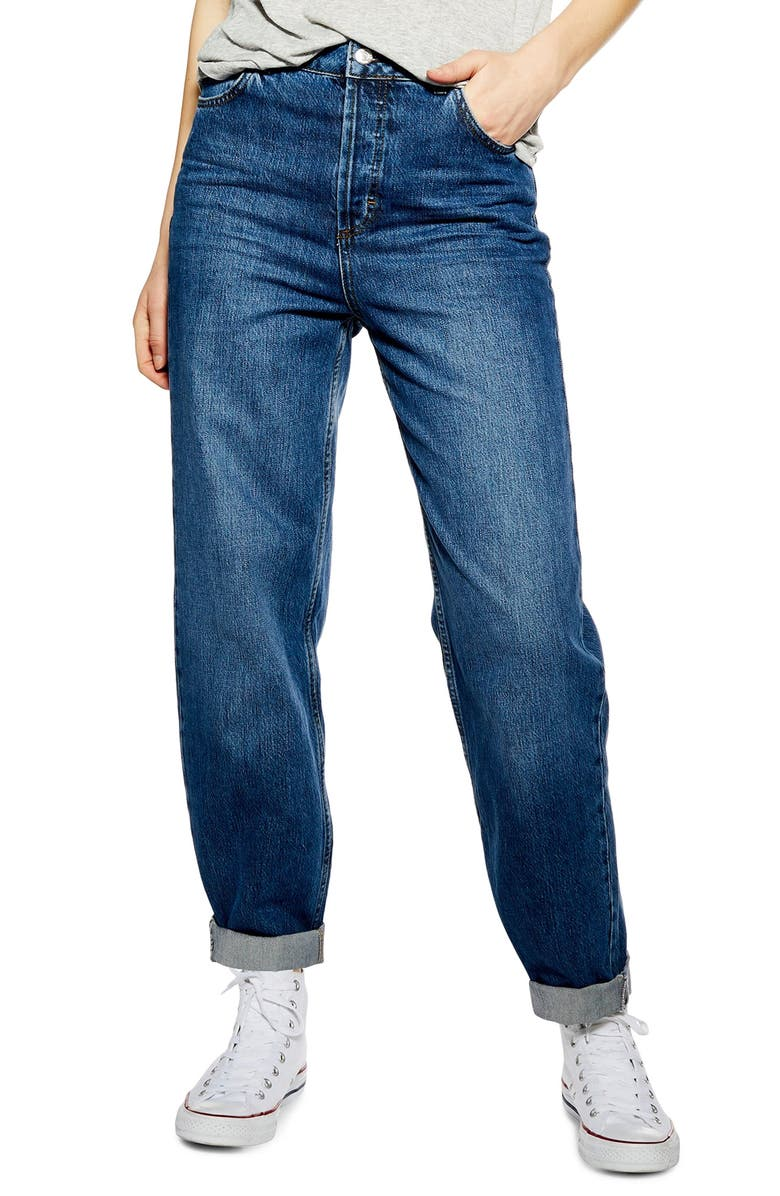 TOPSHOP Balloon Boyfriend Jeans, Main, color, MID DENIM