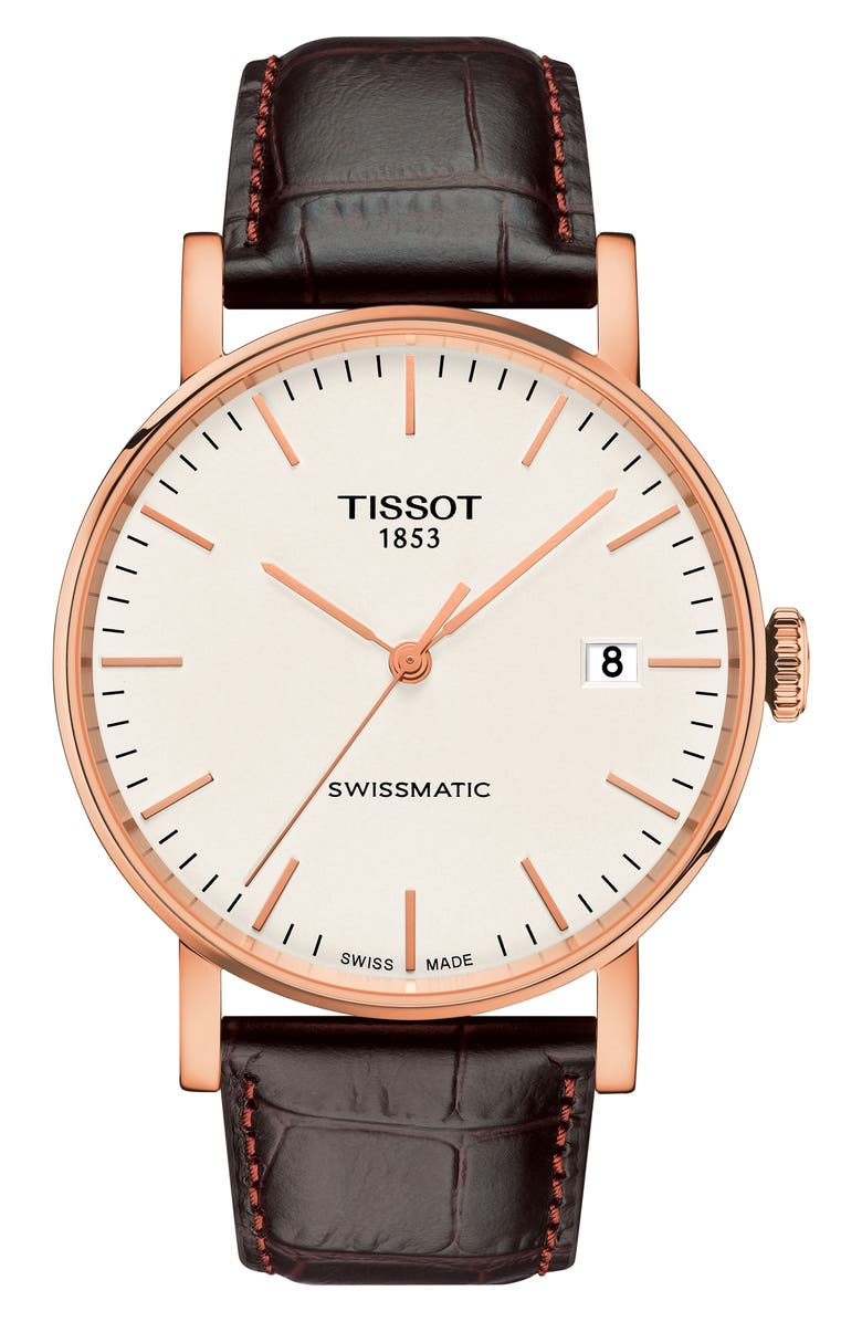 TISSOT Everytime Swissmatic Leather Strap Watch, 40mm, Main, color, BROWN/ WHITE/ ROSE GOLD