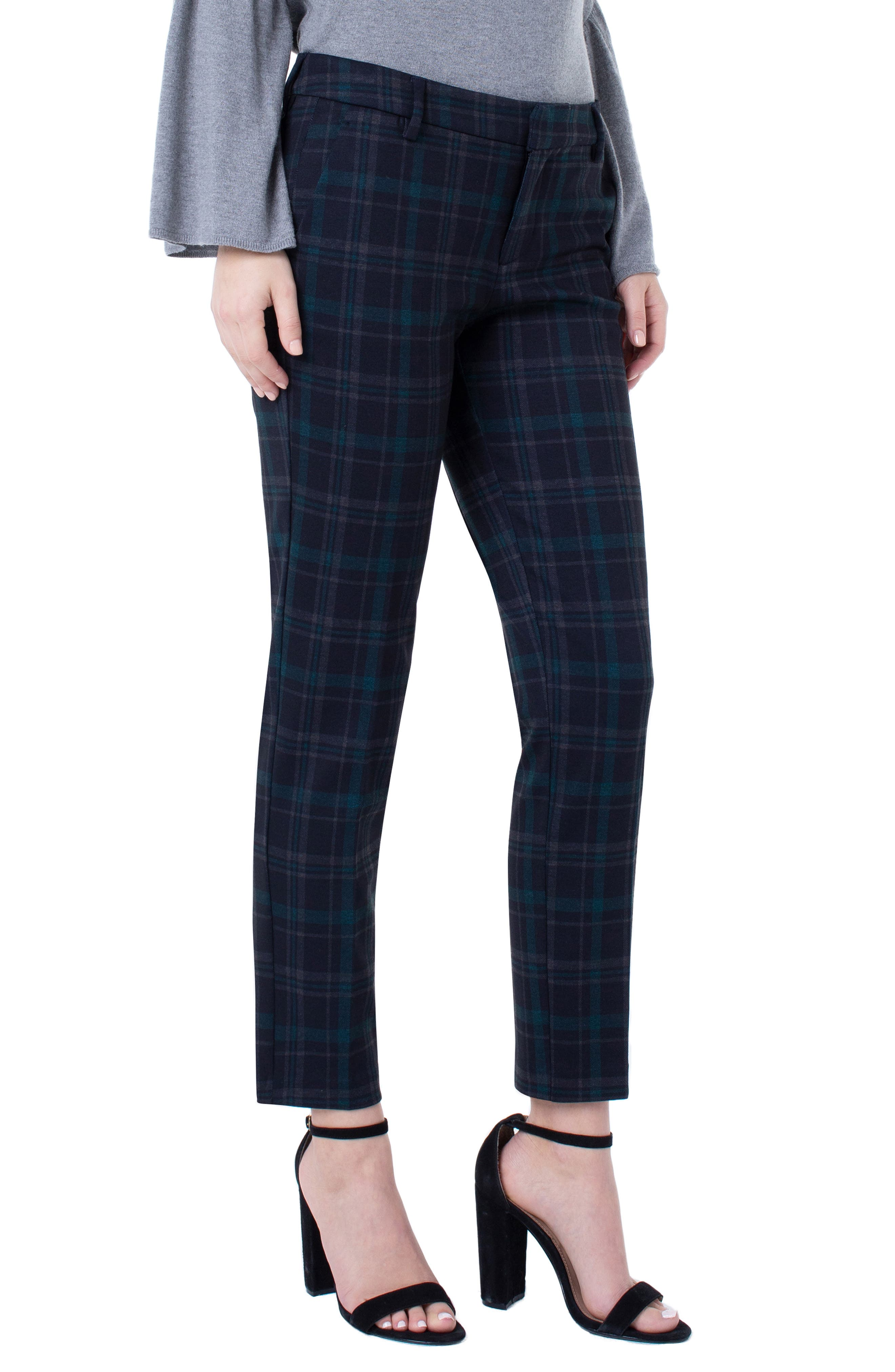 Liverpool Kelsey Plaid Knit Trousers (Regular & Petite)