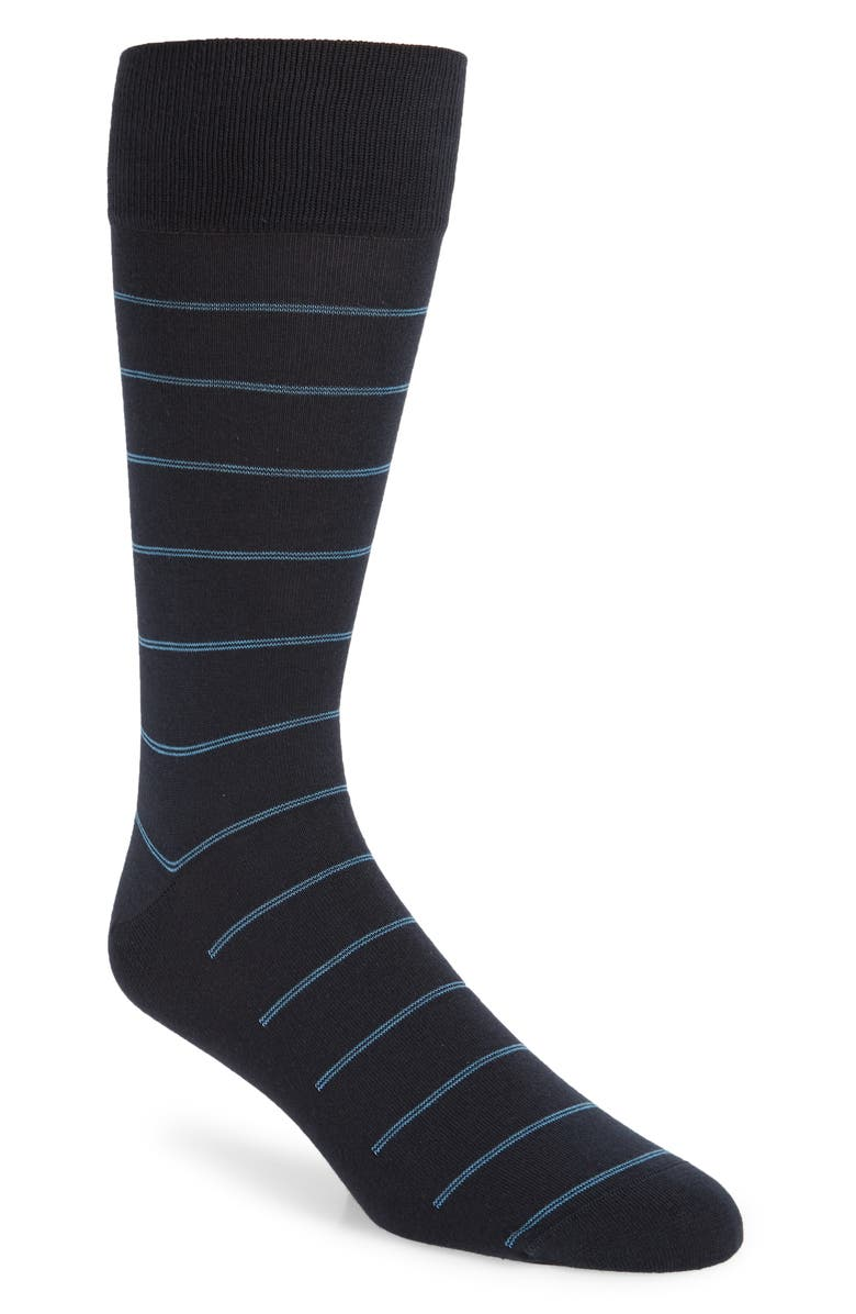 NORDSTROM SIGNATURE Double Pinstripe Socks, Main, color, NAVY/ BLUE