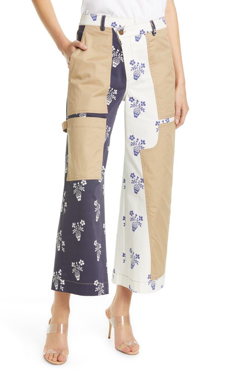 MONSE Flower Pot Patchwork Denim Crop Pants, Main, color, 479