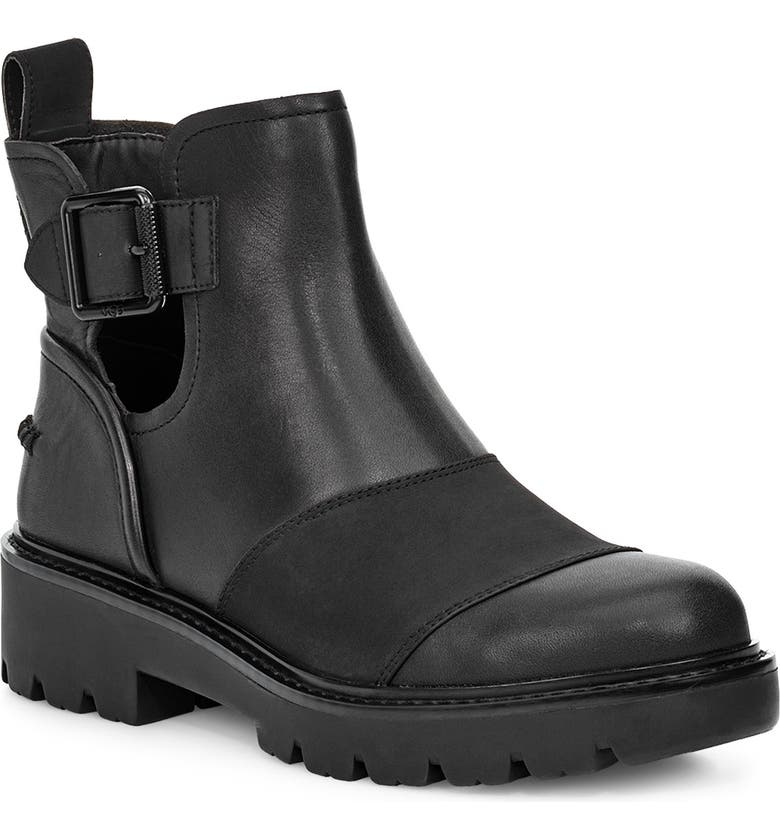 UGG<SUP>®</SUP> Stockton Bootie, Main, color, BLACK LEATHER