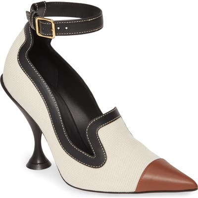 Burberry Brecon Ankle Strap Pointed Toe Pump, Beige