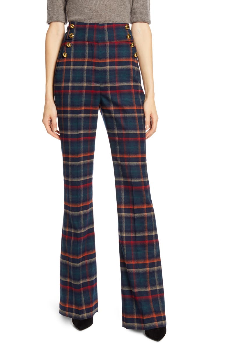 HALOGEN<SUP>®</SUP> x Atlantic-Pacific Button Detail Plaid Flare Pants, Main, color, NAVY MULTI CHECK