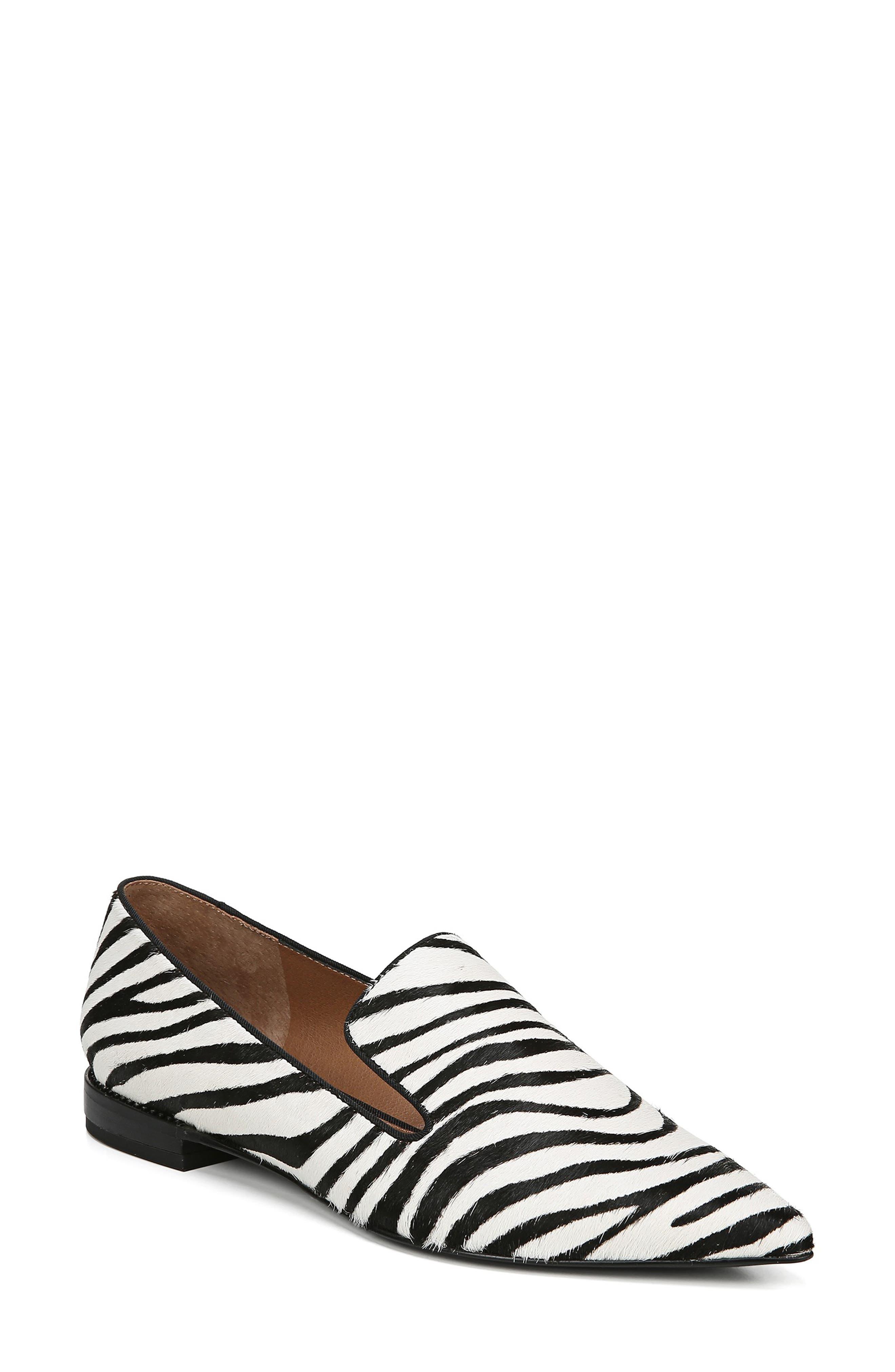 Sarto By Franco Sarto Topaz Genuine Calf Hair Pointy Toe Loafer- Black