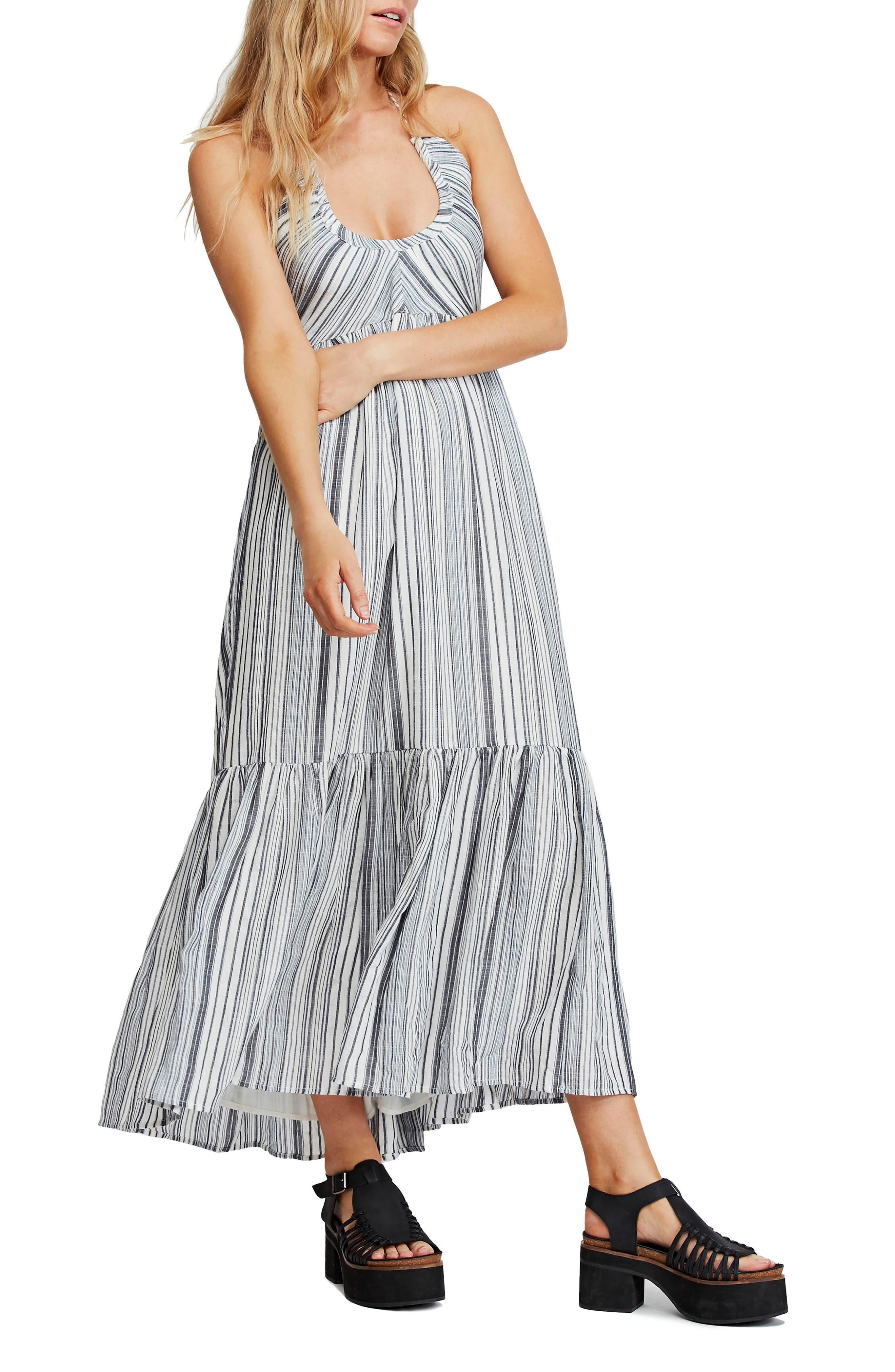 Free People Audrey Stripe Halter Dress, Blue