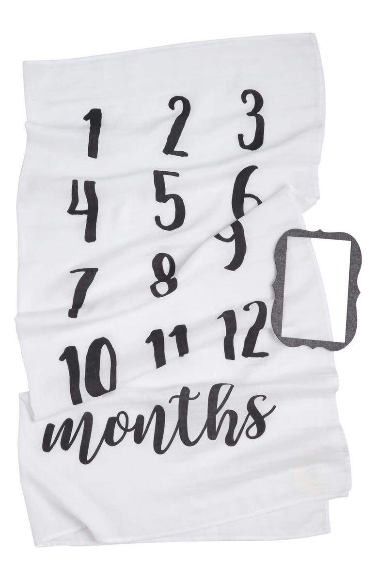 MUD PIE Monthly Milestone Blanket & Frame Set, Main, color, WHITE