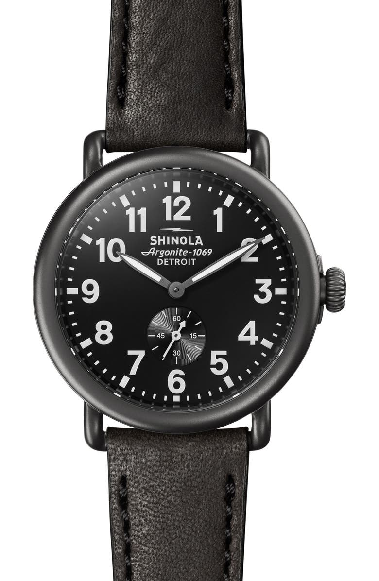 SHINOLA 'The Runwell' Leather Strap Watch, 41mm, Main, color, 005