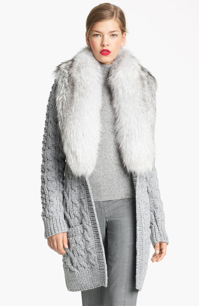MICHAEL KORS Genuine Fox Fur Collar Cardigan, Main, color, 050