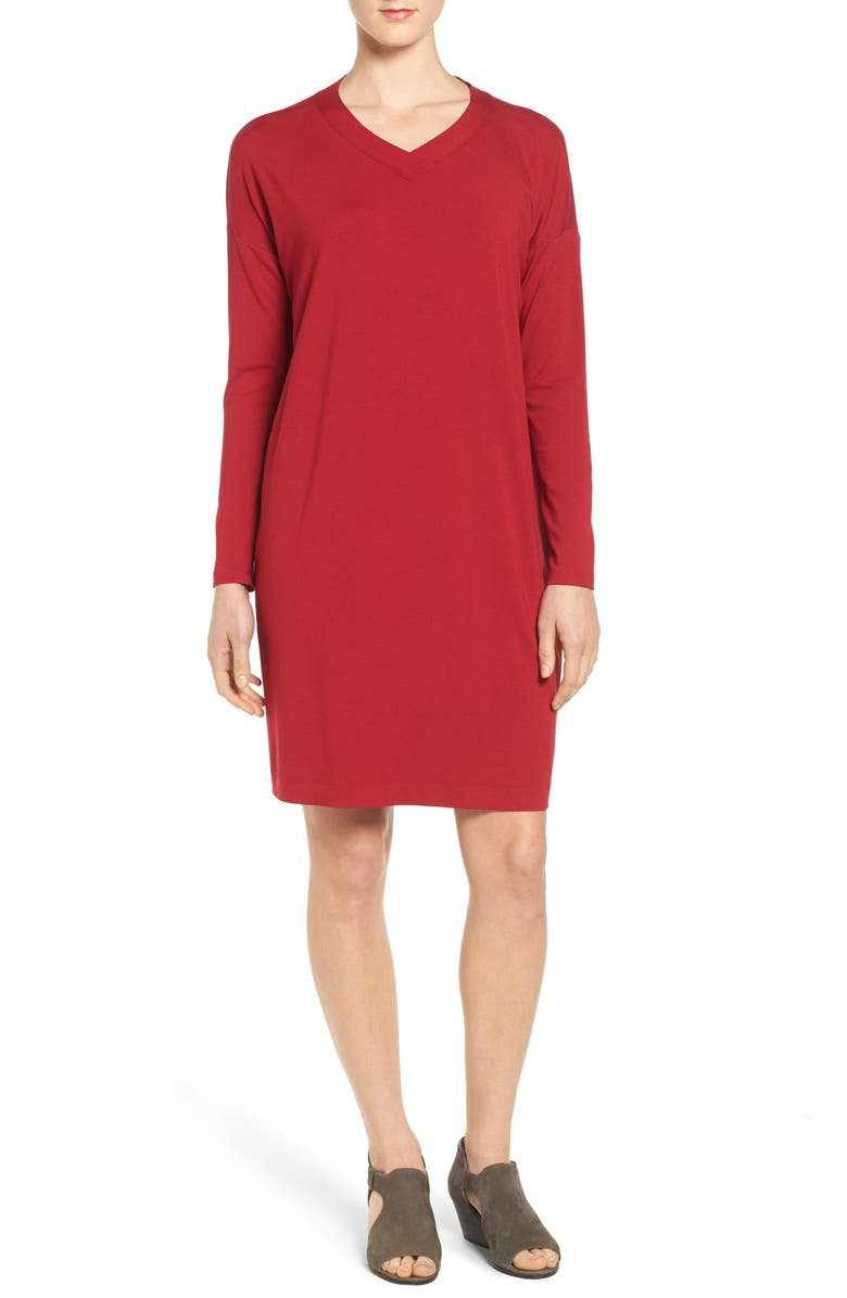 EILEEN FISHER V-Neck Stretch Jersey Shift Dress, Main, color, 621