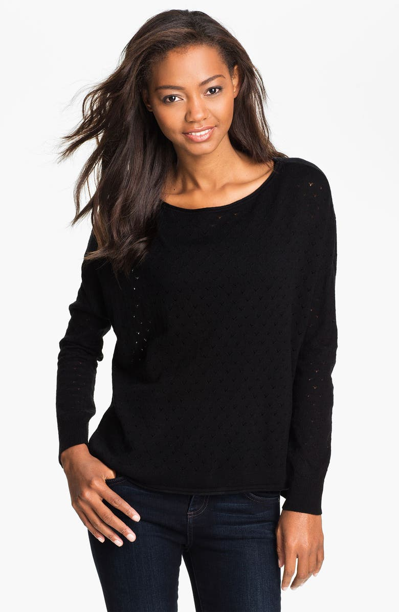 VINCE CAMUTO Pointelle Sweater, Main, color, 001