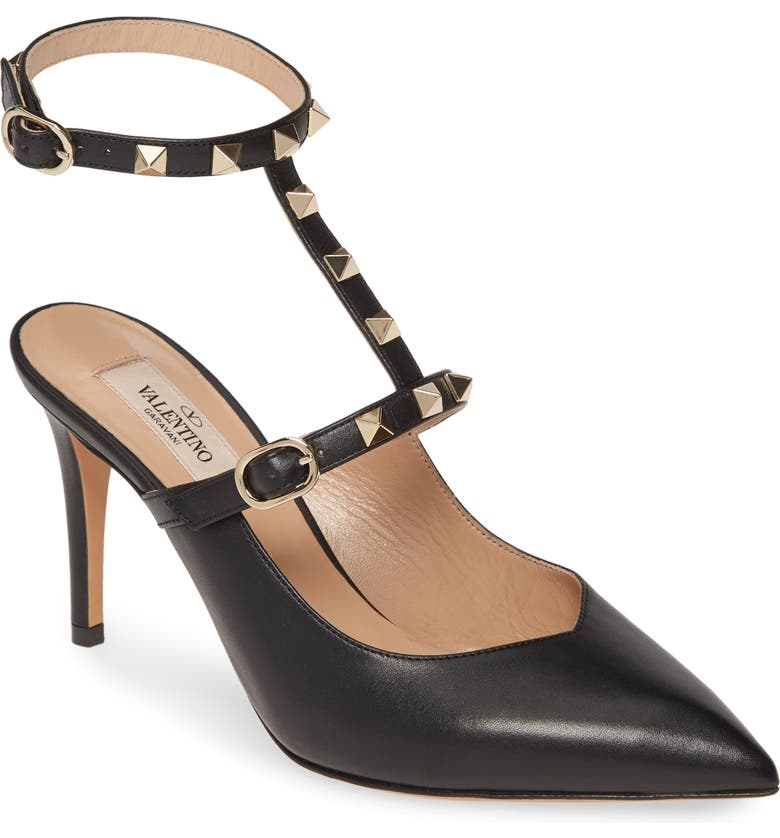 VALENTINO GARAVANI VALENTINO GARAVINI Rockstud Ankle Strap Pump, Main, color, BLACK LEATHER