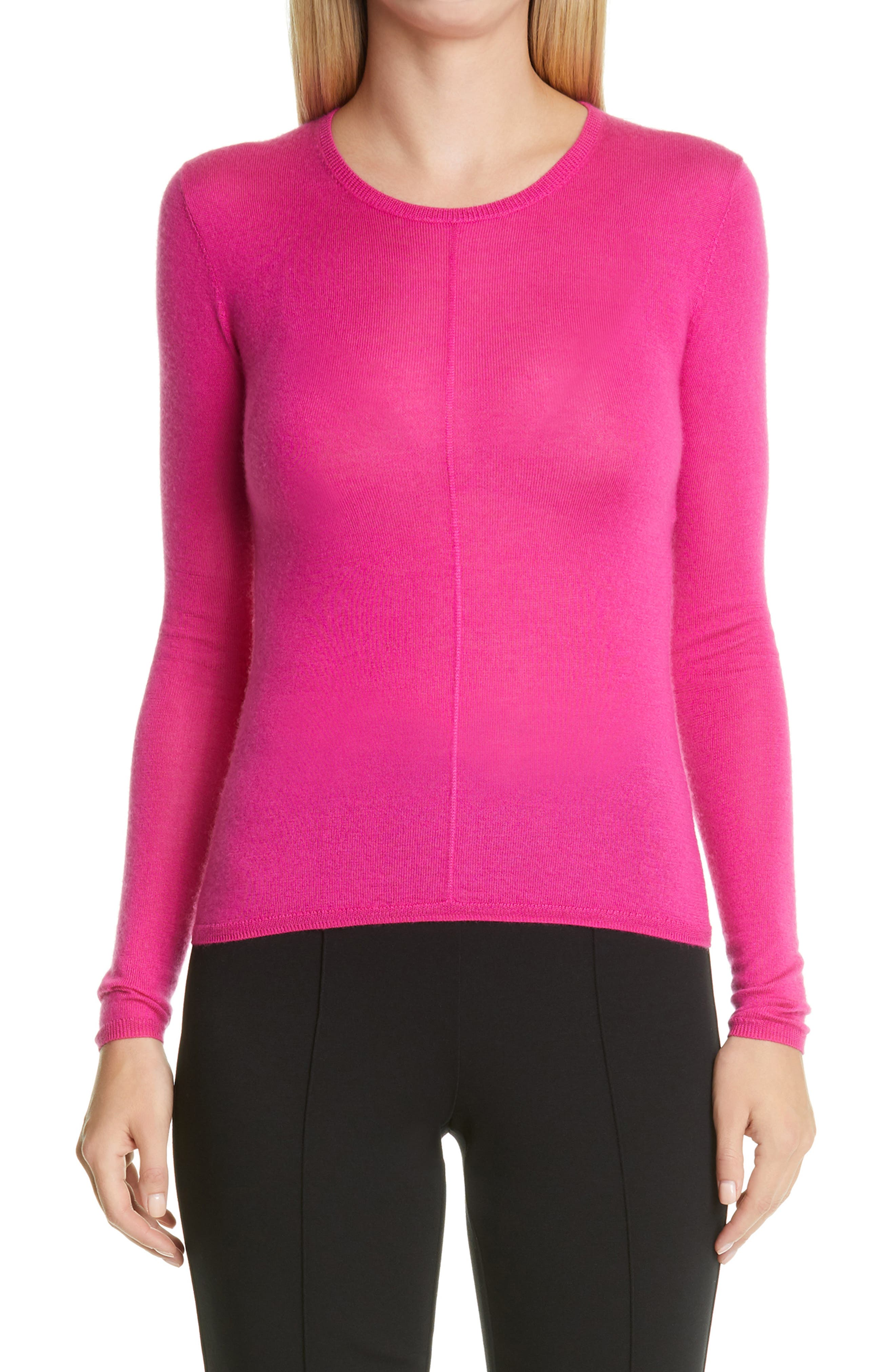 With a shapely fit streamlined by raised center seams, this slightly sheer sweater is knit from a supple cashmere-silk yarn dyed in a vivacious pink hue. Style Name: St. John Collection Cashmere & Silk Sweater. Style Number: 6106759. Available in stores.