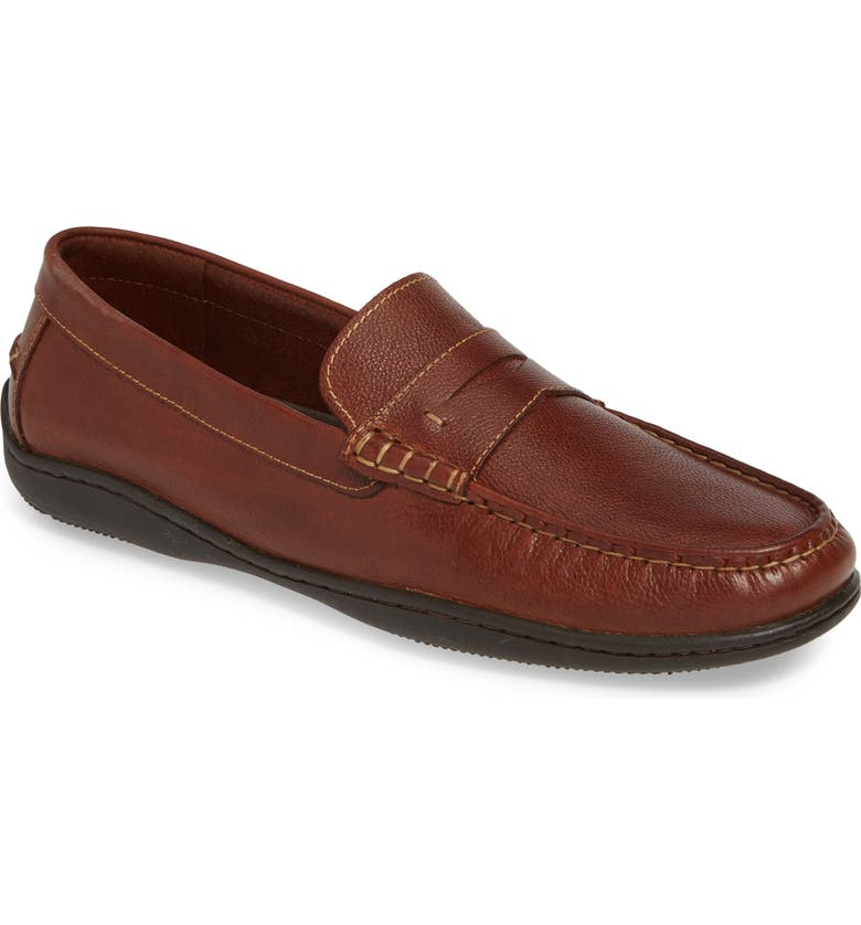 JOHNSTON & MURPHY Fowler Penny Loafer, Main, color, MAHOGANY LEATHER
