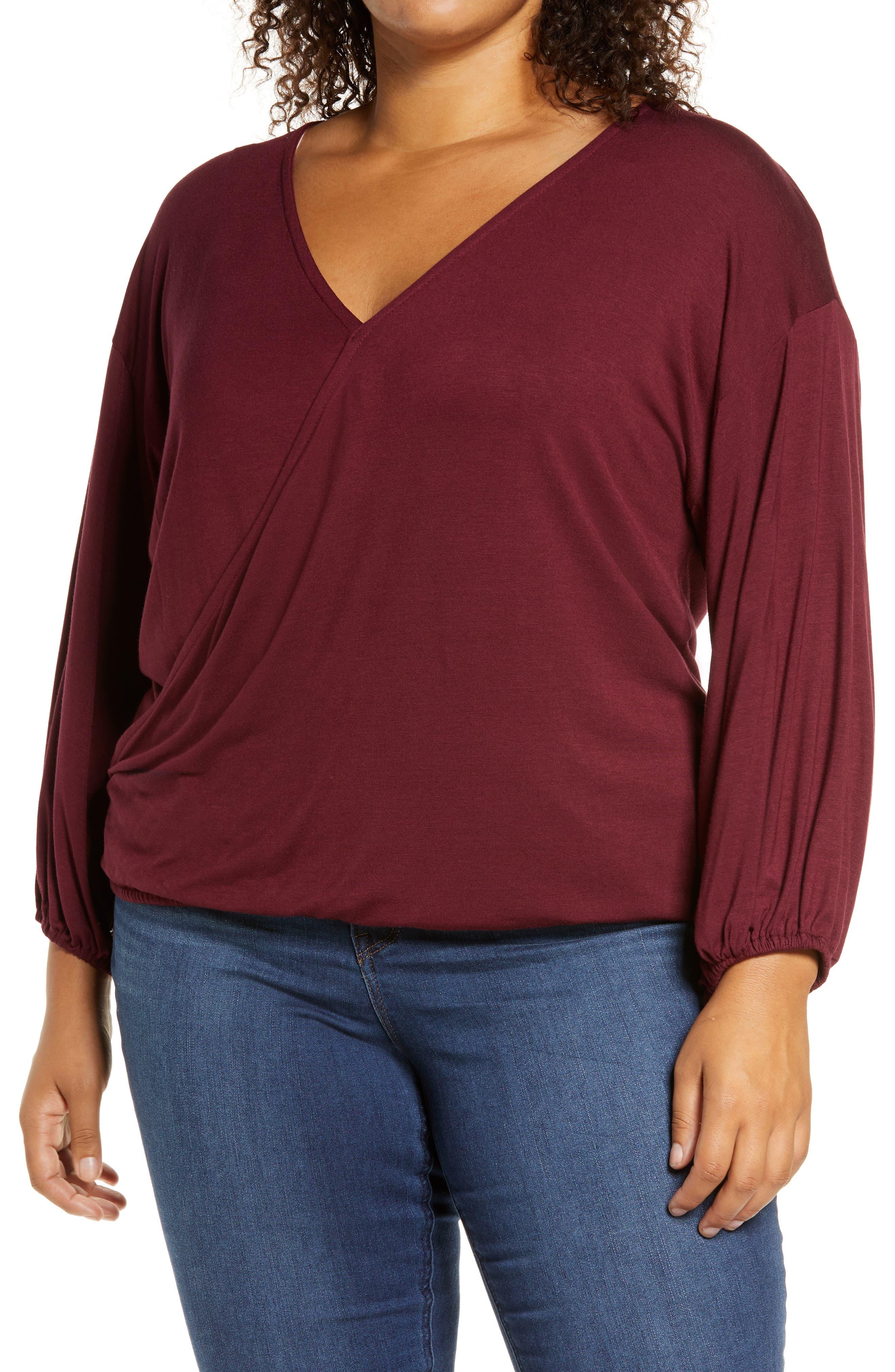 Plus Size Women's Loveapella Wrap Front Blouson Top