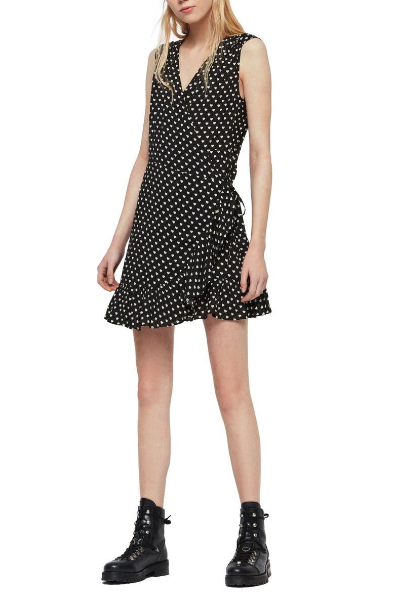 ALLSAINTS Krystal Wrap Dress, Main, color, BLACK