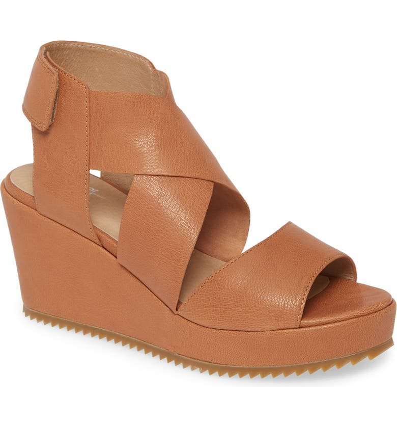 EILEEN FISHER Whimsy Platform Wedge Sandal, Main, color, CAMEL LEATHER