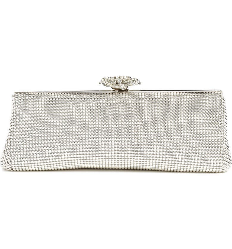 WHITING & DAVIS 'Crystal Flower' Metal Mesh Clutch, Main, color, SILVER