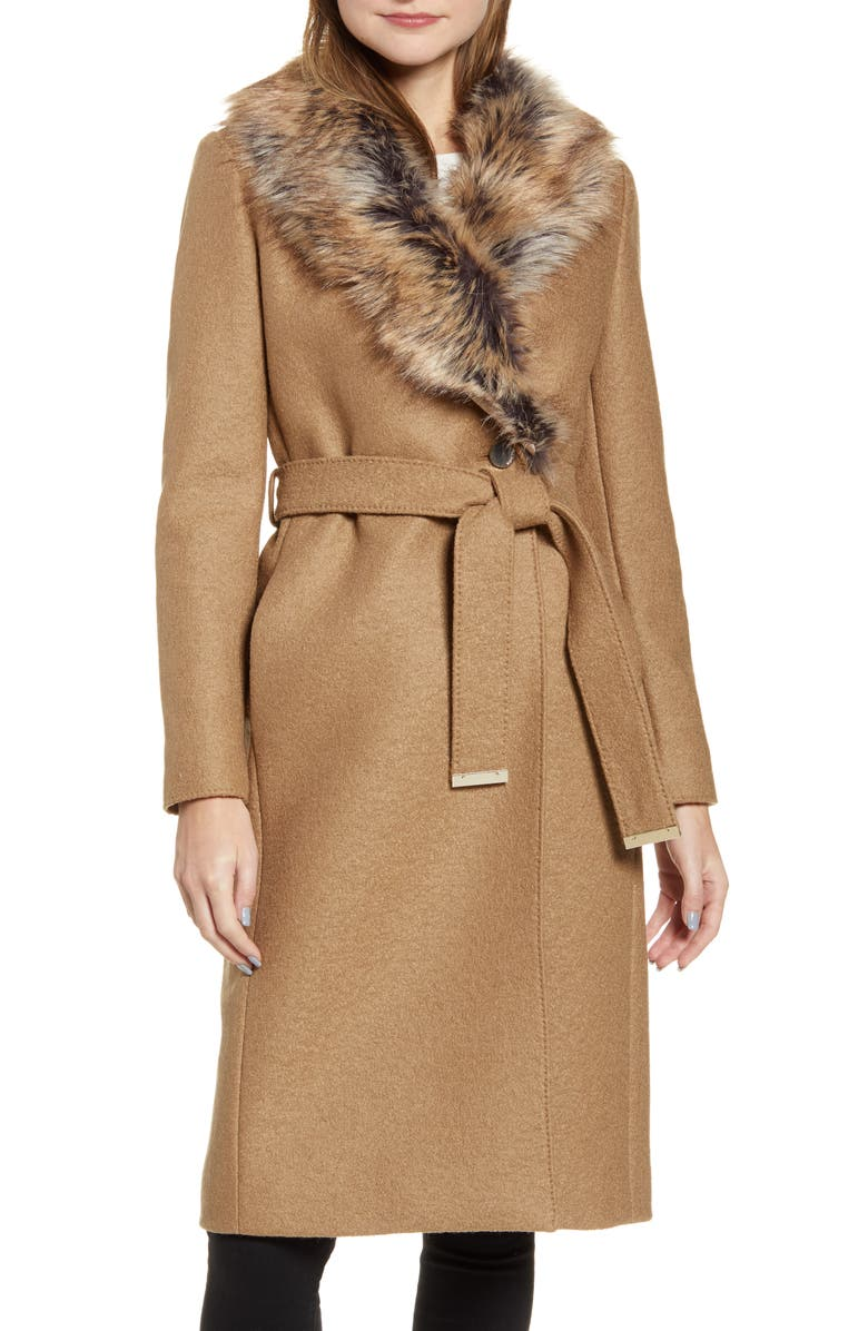 TED BAKER LONDON Corinna Wool Coat with Faux Fur Collar, Main, color, 250